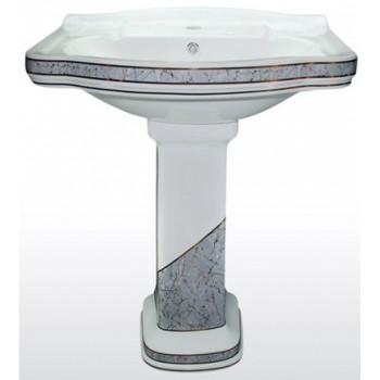 Раковина подвесная Creavit Klasik KL065.000I0/KL250.000I0 c пьедесталом (65.8х50.2x81.5)