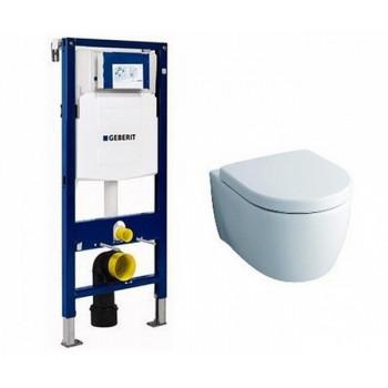 Комплект Geberit Duofix 111.300.00.5-20406 инсталляция и унитаз подвесной безободковый Keramag iCon Rimfree (204060)+Крышка-сиденье Keramag iCon (574130) микролифт