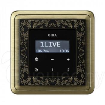 Встраиваемое радио в стену Gira в рамке ClassiX Art бронза-черный