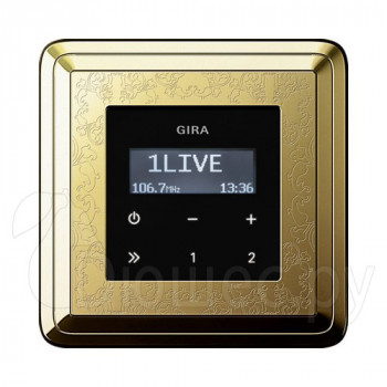 Встраиваемое радио в стену Gira в рамке ClassiX Art латунь
