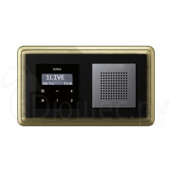 Встраиваемое радио в стену Gira антрацит динамик в рамке ClassiX бронза-черный