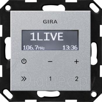 Встраиваемое радио в стену и подрозетник Gira алюминий