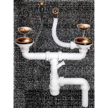 Клапан-автомат Omoikir A-02-AB-2 4996008 для двухчашевых моек с одним переливом античная латунь